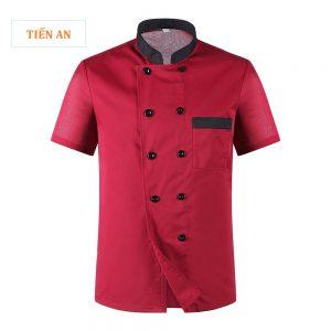 Áo bếp đẹp màu đỏ đô phối đen cổ tàu