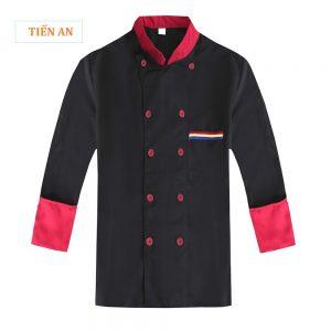 Áo bếp nam dài tay màu đen phối đỏ