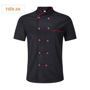 Mẫu áo bếp trưởng màu đen phối đỏ