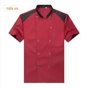 Đồng phục bếp đẹp màu đỏ đô phối đen