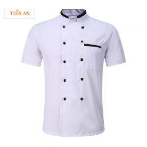 Mẫu đồng phục bếp đẹp màu trắng phối đen