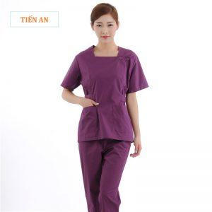 Mẫu quần áo nhân viên spa cổ vuông, màu tím