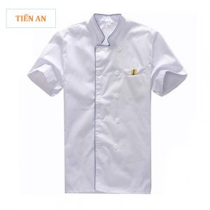 Mẫu đồng phục bếp màu trắng phối xanh