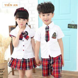 Mẫu đồng phục tiểu học đẹp, sơ mi trắng